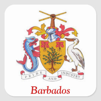 Coat of arms of Barbados Square Sticker