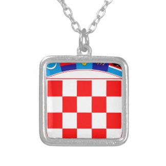 Coat of arms of Croatia, Croatian Emblem, Hrvatska Silver Plated Necklace