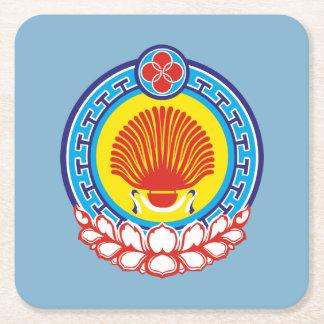 Coat of arms of Kalmykia Square Paper Coaster