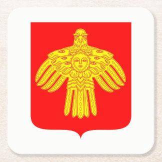 Coat of arms of Komi Square Paper Coaster