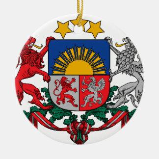 Coat of arms of Latvia - Latvijas ģerbonis Round Ceramic Decoration