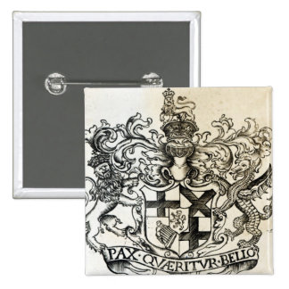 Coat of arms of Oliver Cromwell 15 Cm Square Badge