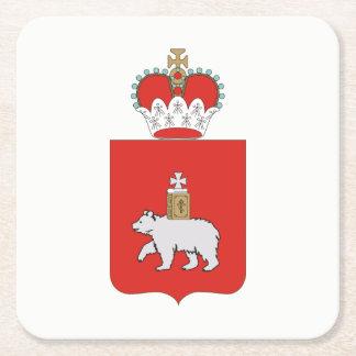 Coat of arms of Perm krai Square Paper Coaster