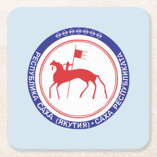 Coat of arms of Sakha Square Paper Coaster