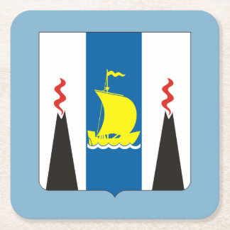 Coat of arms of Sakhalin oblast Square Paper Coaster