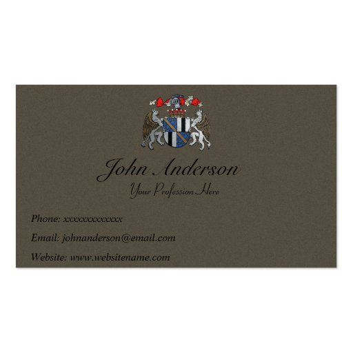 Coat of Arms - Two Griffins and Helmet Business Card Templates