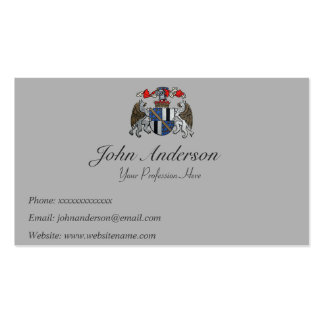 Coat of Arms - Two Griffins and Helmet Business Card Template