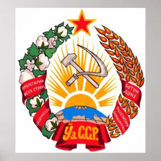 Coat of arms Uzbekistan Official Heraldry Symbol Poster