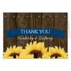 COBALT BLU RUSTIC SUNFLOWER WEDDING THANK YOU CARD
