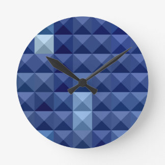 Cobalt Blue Abstract Low Polygon Background Wallclocks