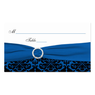 Cobalt Blue and Black Damask Place Cards Double-Sided Standard Business Cards (Pack Of 100)