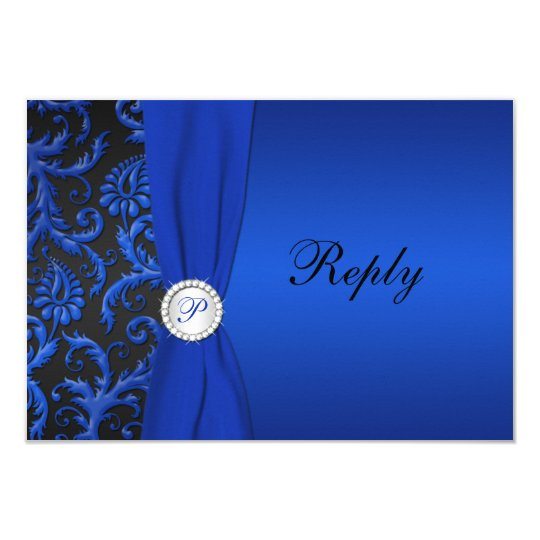 Cobalt Blue and Black Damask RSVP Card