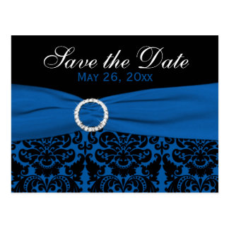 Cobalt Blue and Black Damask Save the Date Card Postcard