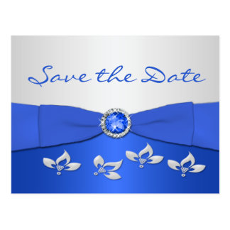 Cobalt Blue and Silver Floral Save the Date Card Post Card
