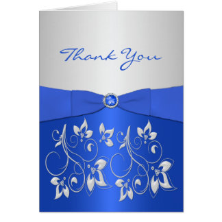 Cobalt Blue and Silver Floral Thank You Card