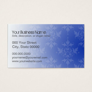 Cobalt Blue and White Damask Business Card