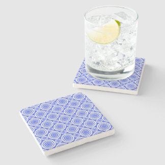 Cobalt Blue and White Geometric Circles Pattern Stone Coaster