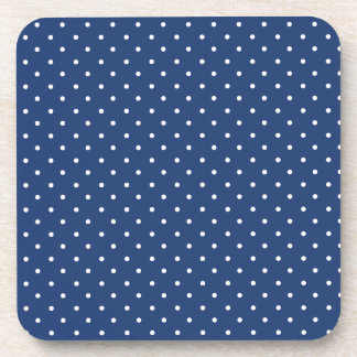 Cobalt Blue And White Small Polka Dots Pattern Drink Coasters