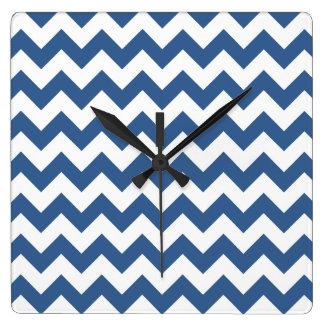 Cobalt Blue And White Striped Chevron Pattern Wall Clock
