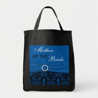 Cobalt Blue, Black Damask Mother of Bride Tote Bag