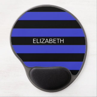Cobalt Blue Black Horiz Preppy Stripe Monogram Gel Mouse Pad
