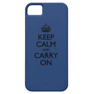 Cobalt Blue / Black Text Keep Calm And Carry On iPhone 5 Cover