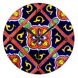 Cobalt Blue Burnt Orange Southwestern Tile Design Clock