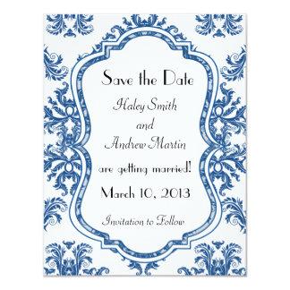 Cobalt Blue Damask Wedding Save the Date 11 Cm X 14 Cm Invitation Card