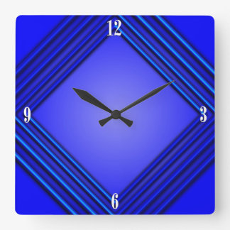 Cobalt Blue Double Frame 4 White Numbers Square Wall Clock