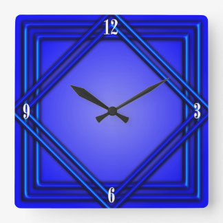 Cobalt Blue Double Frame 4 White Numbers Wallclock