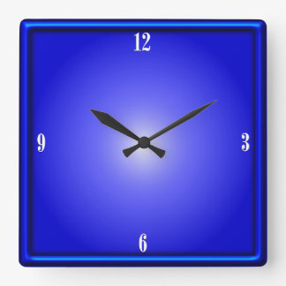 Cobalt Blue Four White Numbers Clock