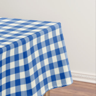 Cobalt Blue Gingham Cotton Tablecloth