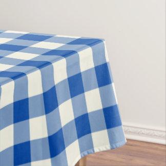 Cobalt Blue Gingham Pattern Check Tablecloth