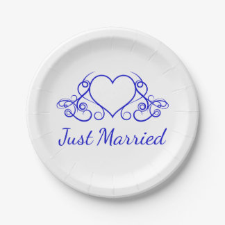 Cobalt Blue Heart Just Married - Wedding Party Paper Plate