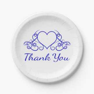 Cobalt Blue Heart Thank You - Wedding Party 7 Inch Paper Plate
