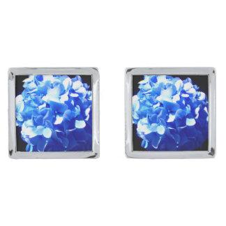Cobalt blue hydrangea silver finish cufflinks