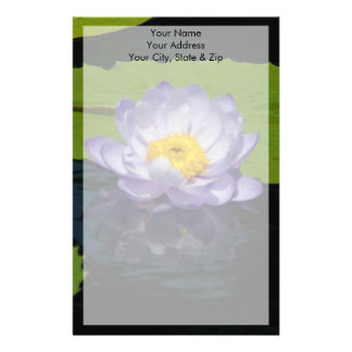 Cobalt Blue Lotus Waterlily Flower Stationery
