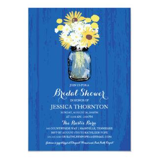 Cobalt Blue Mason Jar Sunflowers | Bridal Shower Card