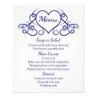 Cobalt Blue Menu Floral Heart Wedding Party