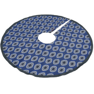 Cobalt Blue Nouveau Checked Pattern Brushed Polyester Tree Skirt