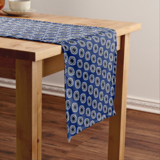Cobalt Blue Nouveau Checked Pattern Short Table Runner