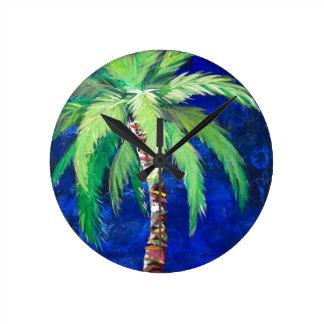Cobalt Blue Palm II Round Clock