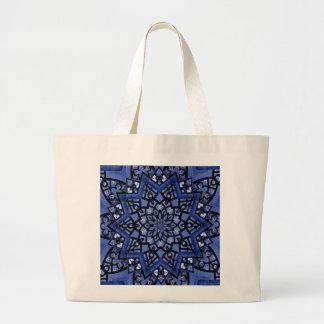 Cobalt blue pattern large tote bag