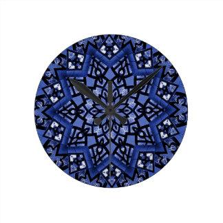 Cobalt blue pattern round clock
