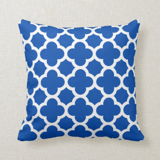 Cobalt Blue Quatrefoil Trellis Pattern Pillows
