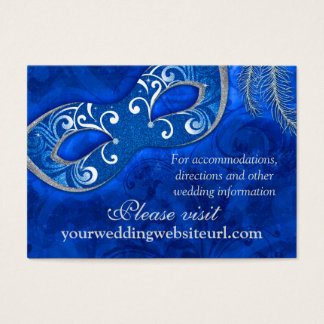 Cobalt Blue Silver Masquerade Ball Wedding Website Business Card