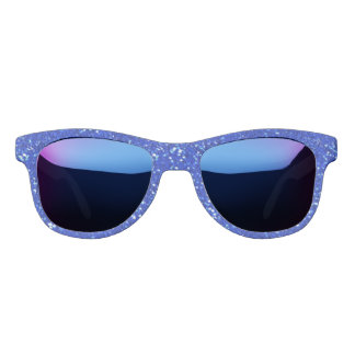 Cobalt Blue Sparkly Glam Faux Glitter Bling Sunglasses