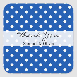 Cobalt Blue Square Custom Polka Dotted Thank You Square Sticker
