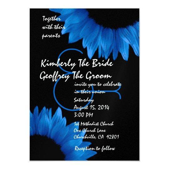 Cobalt Blue Sunflowers Modern Wedding Template Card