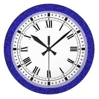 Cobalt Blue Tudor Garden Floral Damask Large Clock